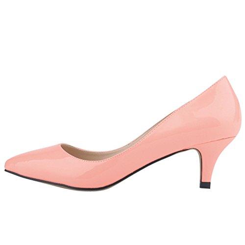OCHENTA Mujer de color del caramelo punta estrecha mediana de tacon zapatos de la bomba de la PU Rosa