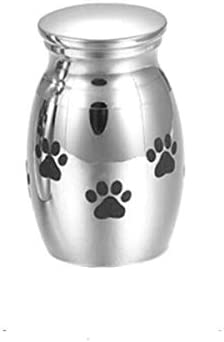 XJYWJ 灰、チタン鋼、開閉式、灰、瓶、ネックレス、足跡のお土産、ペットや犬のUr、 (色 : 白い)