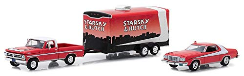 Greenlight 31060-A Hollywood Hitch & Tow Series 5 Starsky and Hutch 1972 Ford F-100 with 1976 Ford Gran Torino in Enclosed Car Hauler 1:64 Scale