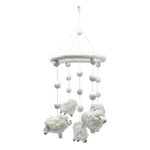 Wool Sheep Lamb Nursery Mobile for Baby's Room Crib Decoration ()