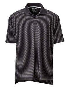(adidas Golf Mens ClimaLite Tech Pencil Stripe Polo - BLACK/WHITE - XL)