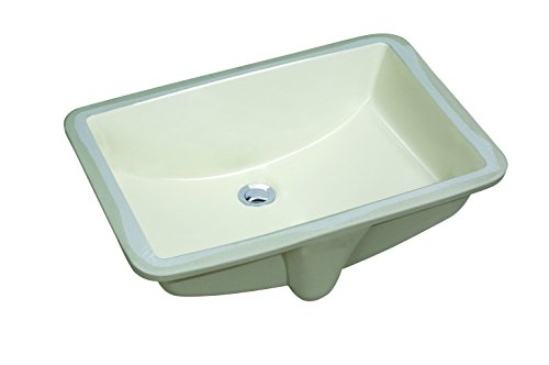 (CHANGIE 1612B Rectangular Lavatory Undercounter Bathroom Ceramic Sink,Biscuit,18x12 inches)