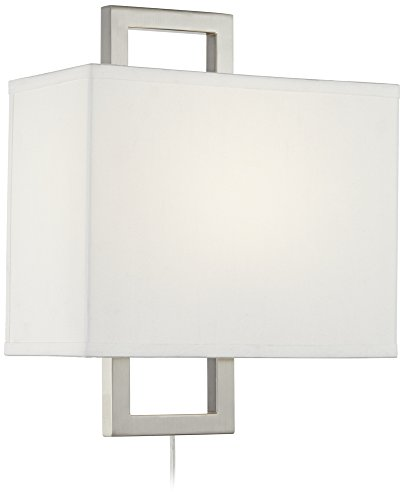 Aundria Rectangular Brushed Steel Plug-In Wall Lamp
