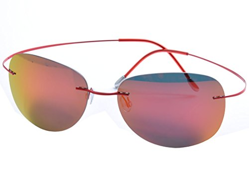 De Ding Mens rimless titanium polarized Sunglasses (red, ()