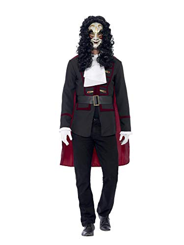 Smiffys Men's Venetian Highwayman Costume, Jacket, Cape and Collar, Carnival of the Damned, Halloween, Size M, 43744