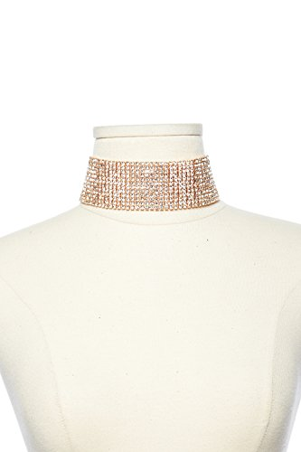 Womens Wide Full Cube Rhinestone Bling Bling Choker Necklace NE7929 (Rhinestone Cube)