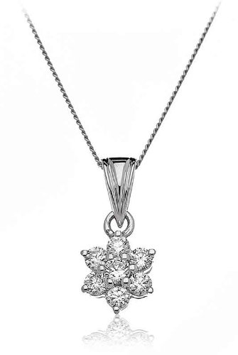 0.25CT Certified G/VS2 Round Brilliant Cut Claw Set Flower Shape Diamond Pendant in 9K White Gold