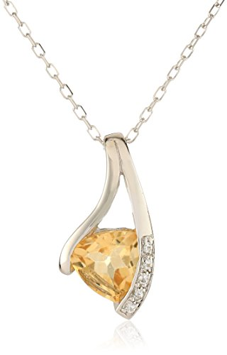 Citrine Necklace Topaz (Sterling Silver Citrine Pendant Necklace, 18