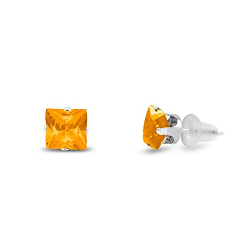 Simulated 6x6mm Square Princess Cut Yellow Citrine Solid 10K White Gold 4-Prong Set Stud Earrings