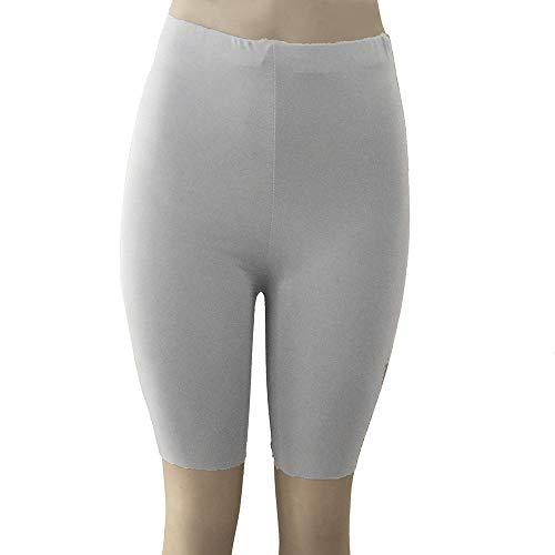 (CCatyam Short Pants for Women, Solid High Waist Elastic Leggings Gym Cycling Shorts Trousers Gray)