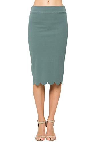 Junky Closet Women's Scallops Knee Length High Waisted Pencil Skirt (Made in USA) (Medium, 3635CLAF Green DEEP) (Pencil Edge)