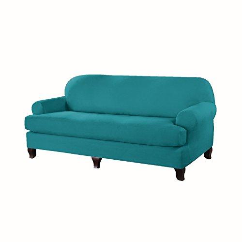 Serta 862758 Stretch T Sofa Slipcover, Aqua