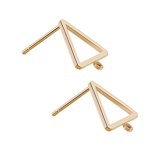 BENECREAT 5 Pairs 18K Gold Plated Earring Studs Earring Posts Triangle Stud Earrings with Hole for DIY Jewelry Making Findings - -
