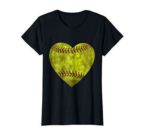 Softball Distressed Heart T-Shirt Cute Mom Love Tee ()