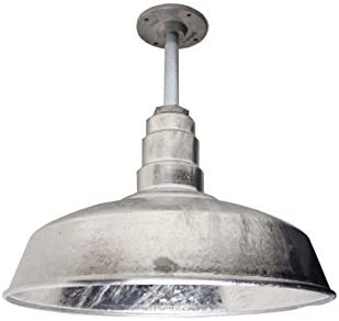 The 200 Watt ABBA Standard Galvanized 16 Inch Rigid Pendant Shade American Made Pendant Shade 16 Dome 12 Stem Includes Ceiling Mounting Plate Galvanized