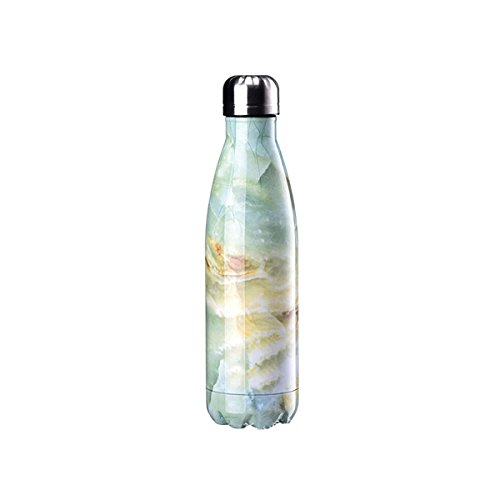 FunnyGuys Customized Engraved Double Walled Stainless Steel Water Bottle Keeps Your Drink Cold or Hot Personalized Wedding Birthday Gifts (Marble-Green)