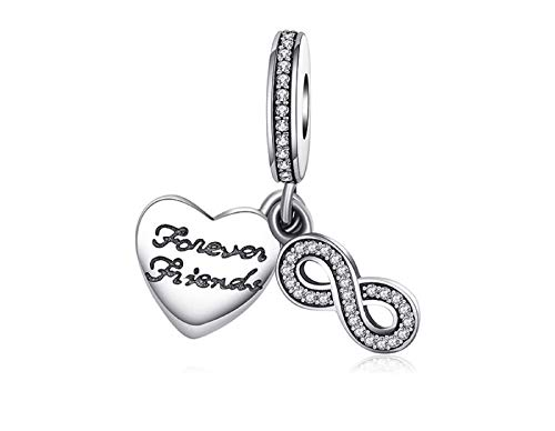 EVESCITY Many Styles Silver Pendents 925 Sterling Beads Fits Pandora, Similar Charm Bracelets & Necklaces (Infinity Friendship Best Friends Forever)