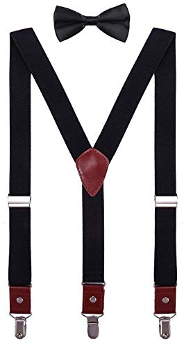 CEAJOO Youth Boys Suspenders and Bow Tie Set Adjustable Y Back 40