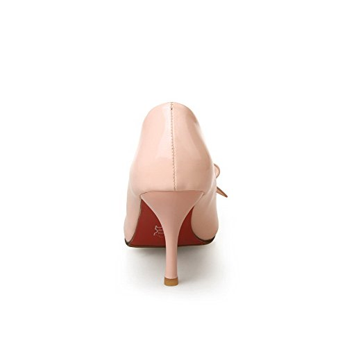 VogueZone009 Women's PU High-Heels Pointed Closed Toe Solid Pull-On Pumps-Shoes Pink Hm6f7pADs