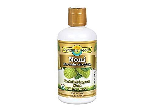 Dynamic Health Certified Organic Noni (Morinda citrifolia) 100% Juice | For Increased Energy & Body Health | No Additives, Vegetarian | 32oz Plastic (2 pk)