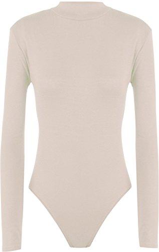 Hot Hanger Womens Long Sleeve Turtle Polo Neck Leotard Bodysuit UK Size 8-28 (12-14 (ML), - Women Uk Hot