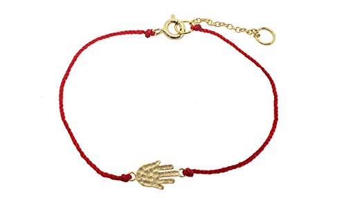 Fronay Collection Lucky Red Cord Hamsa Hand Bracelet 925 Sterling Silver (Yellow-Gold-Plated-Silver) from Fronay Collection