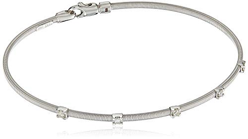 14k White Gold Fancy Wire Diamond with Lobster Clasp Lock Bangle Bracelet (1/10cttw, I-J Color, SI2-I1 Clarity)