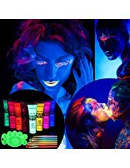 Body Paint, ETEREAUTY UV Glow Blacklight Face and Body Paint 1-oz Set of 8 Tubes with 6 Brushes and a Mixing Palette