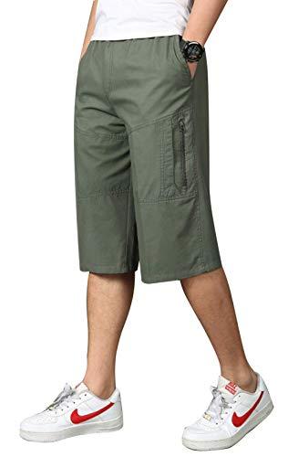 fce4547698 Men's Full Cotton Full Elastic Waist Cargo Performance Baseline Short