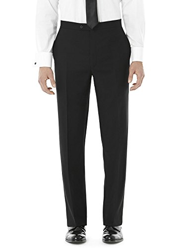 Men's Slim Fit Wool Tuxedo Pants- Dylan by Dessy Group - Black - Size 32/adj by After Six