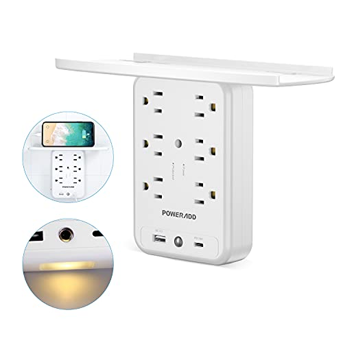 UPoweradd Wall Socket Outlet Shelf, 6 Multi Plug Extender Outlet 1700J Surge Protector with 3.0 USB C PD 18W, Wall Charger Outlet with Removable Shelf and Smart Night Light for Bathroom/Home/Dorm