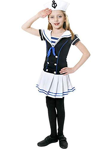 MA ONLINE Kids Sailor Girl Fancy Dress Costume Childrens Play Role Theme Party Wear Outfit 4-6 Years