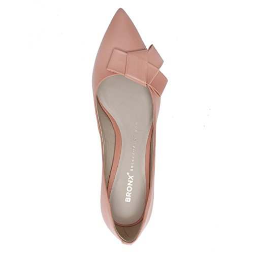 Bronx Nude Leather Bow Court Shoes Beige cJGq5s