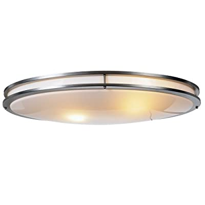 Monument 614011 Oval Ceiling Fixture, White Plastic Lens, Brushed Nickel, 32-1/4 In.