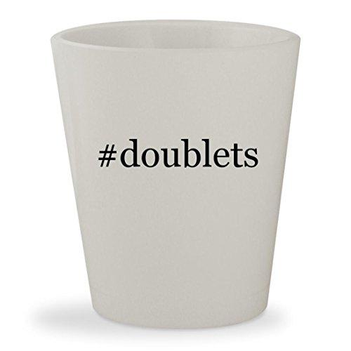 #doublets - White Hashtag Ceramic 1.5oz Shot Glass (Turquoise Doublet)