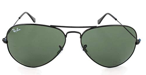 Ray-Ban RB3025 Aviator Sunglasses, Black/Green, 58 mm