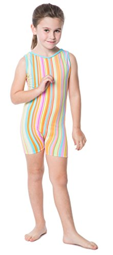 Delicate Illusions Girl Unitard Biketard Gymnastics Outfit Apparel M (6-7 yrs) Sherbet Stripe
