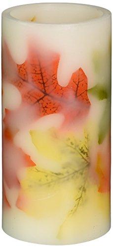 Tag 204909 Multi Harvest Autumn Leaf LED Pillar Candle, 6 x 3