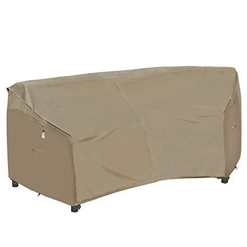 Heavy Duty Outdoor Sectional Couch Covers, 100% Waterproof 600D Patio Sectional Sofa Cover, Curved Lawn Patio Furniture Winter Cover