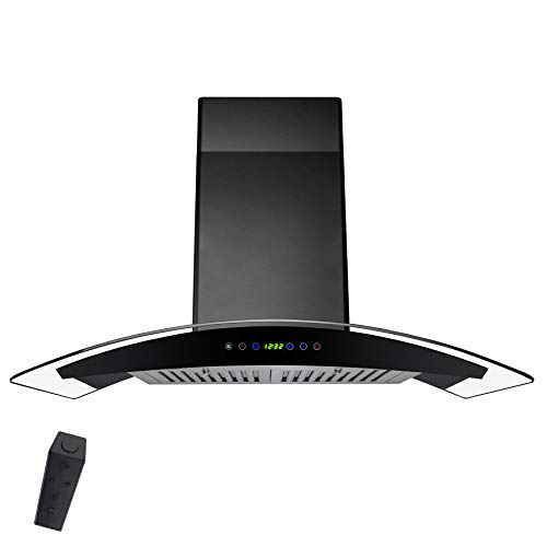 AKDY 30 in. Convertible Wall Mount Range Hood in Black Painted Stainless Steel with Tempered Glass and Remote Control