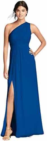 4d6cbf93d9e David s Bridal Long Chiffon Bridesmaid Dress with Asymmetric Neckline Style  F18055