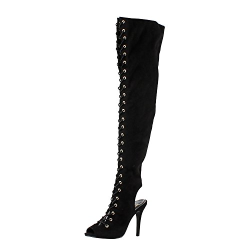 Breckelle's Womens Randi-23 Faux Suede Lace Up Back Cut Out Thigh High Boot,Black,10 (Black Cut Out Lace Up Platform Heels)