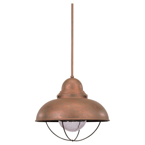 Sea Gull Lighting 6658-44 Sebring One-Light Pendant, Weathered Copper Finish with Clear Seeded Glass