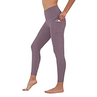90 Degree By Reflex High Waist Tummy Control Interlink Squat Proof Ankle Length Leggings - Plum Shadow - XS