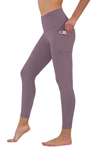 90 Degree By Reflex High Waist Tummy Control Interlink Squat Proof Ankle Length Leggings - Plum Shadow - XS