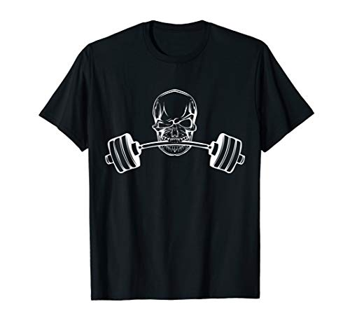 C395 SKULL Gym T Shirt Workout MMA Weight Lifting Motivation (Lifting Motivation)