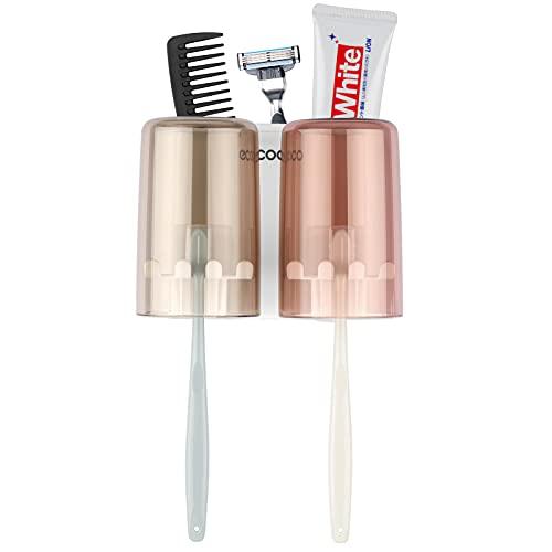 Onlyesh Zahnputzbecherhalter Ohne Bohren, Zahnbürstenhalter Wand mit Tassen, für Kinder und Erwachsene, für Bad