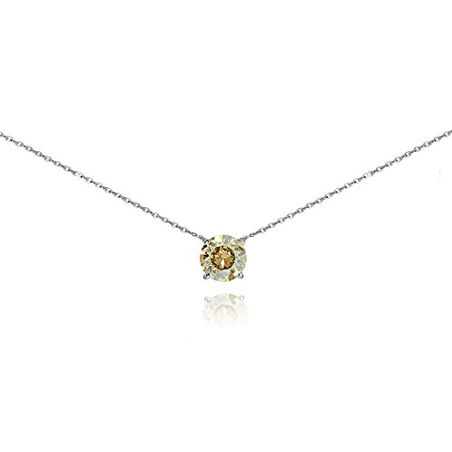 Sterling Silver Golden Shadow Solitaire Choker Necklace set with Swarovski Crystal