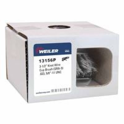 "Weiler 804-13156P Single Row Heavy-Duty Standard Twist Knot Wire Cup Brush, 5/8-11 UNC, 0.023"" Steel, 13000 rpm, 3-1/2"""