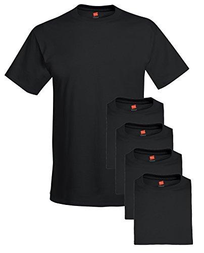Hanes mens 5.2 oz. ComfortSoft Cotton T-Shirt(5280)-BLACK-S-5PK